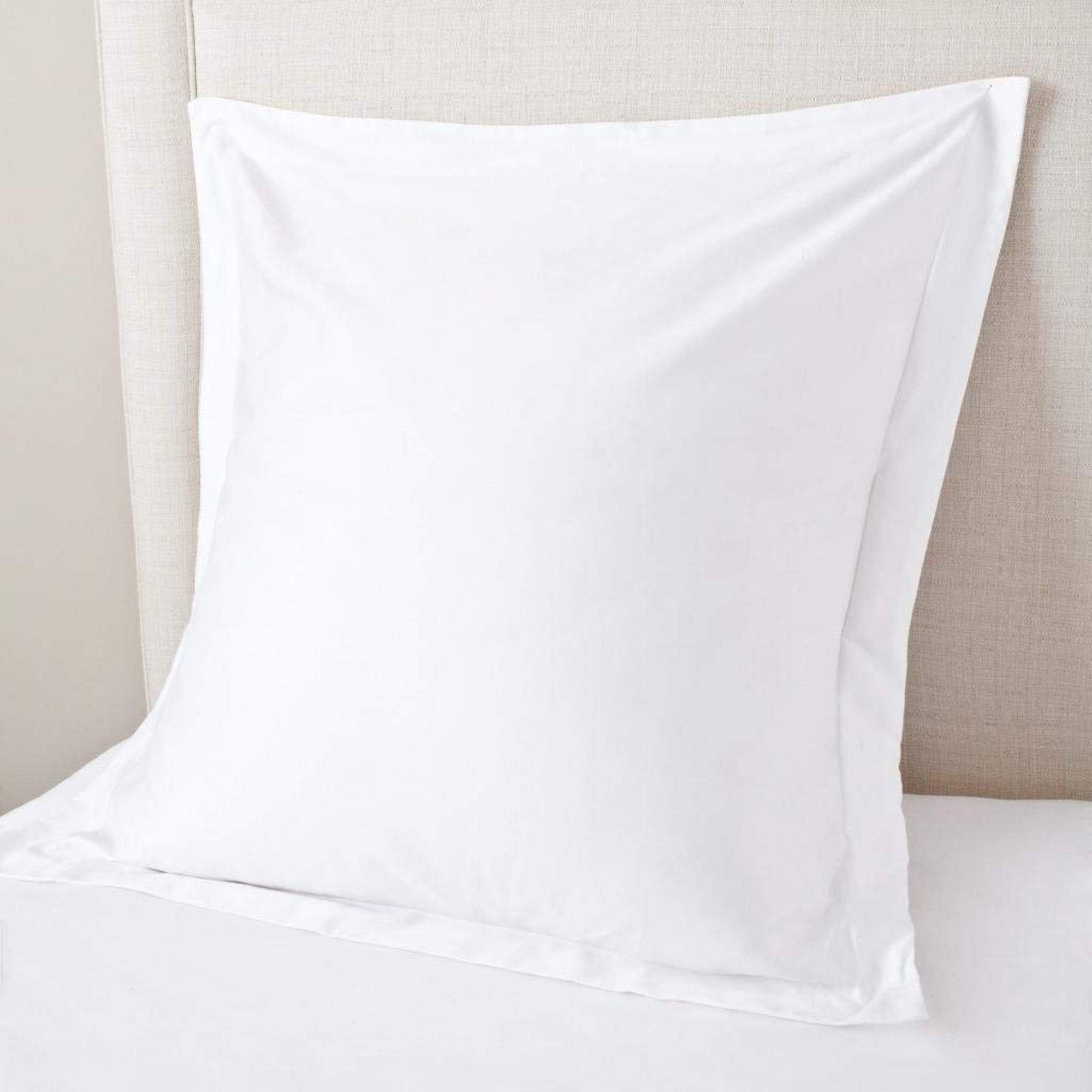 Crown Collection White Solid Natural Egyptian Cotton 600- Thread Count European Square Pillow Shams Cover 26'' x 26'' inch Euro Pillow sham set of 2pcs Hotel Quality