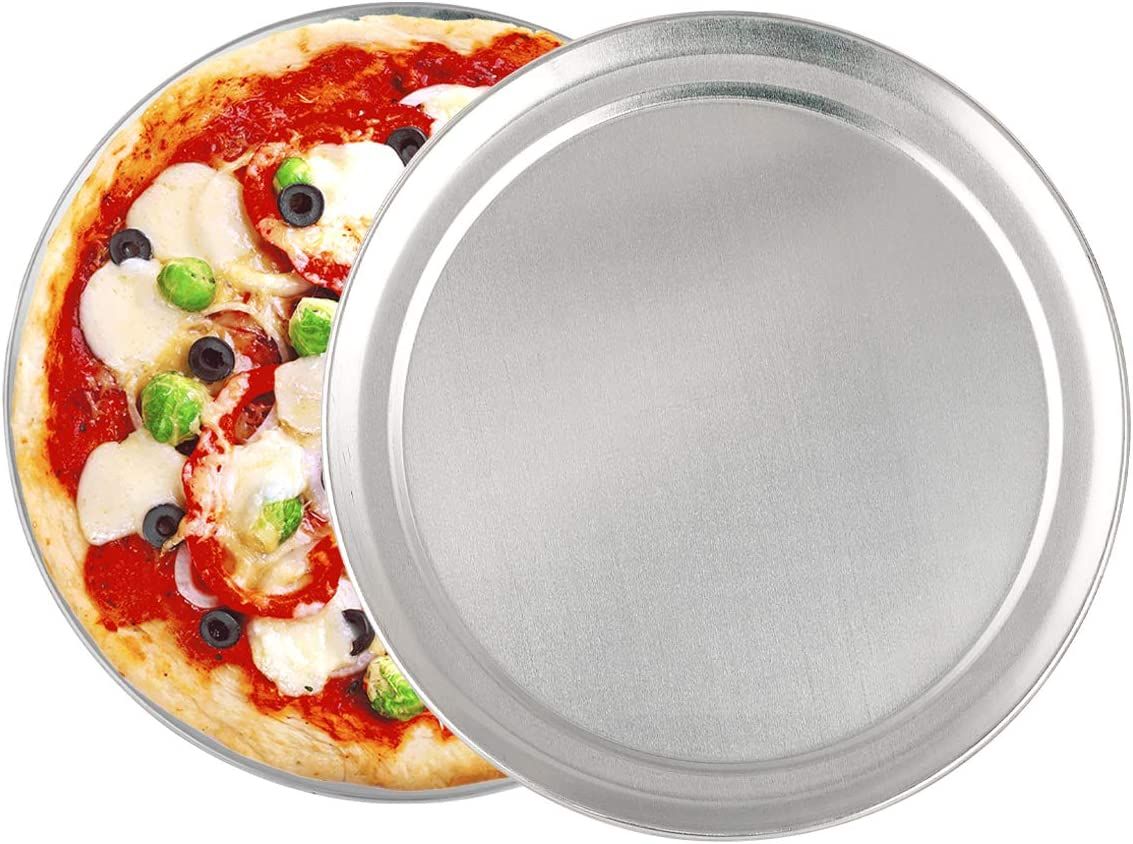 Non-Stick Pizza Pan Bakeware, 10 inch Pizza Tray Aluminum Round Pizza Baking Sheet Oven Tray, Dishwasher Safe Pizza Serving Tray Circle Pizza Pan for Oven Baking, 2 Pack
