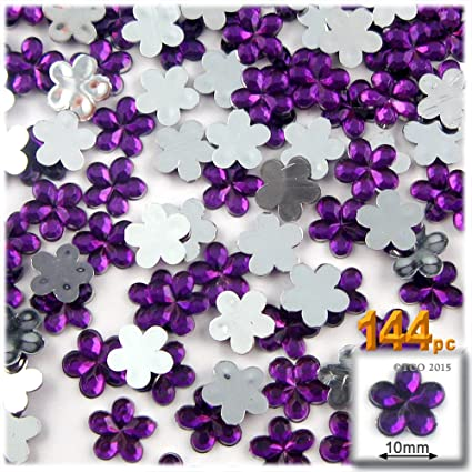 100 Acrylic Flower Gems with Mirror Back 10mm Purple