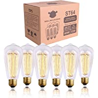 Nalakuvara - foco Edison, estilo antiguo, luz cálida ámbar, jaula de ardilla de vidrio transparente, luces incandescentes, base E26/E27, regulable (60 W/110 V), 6 unidades