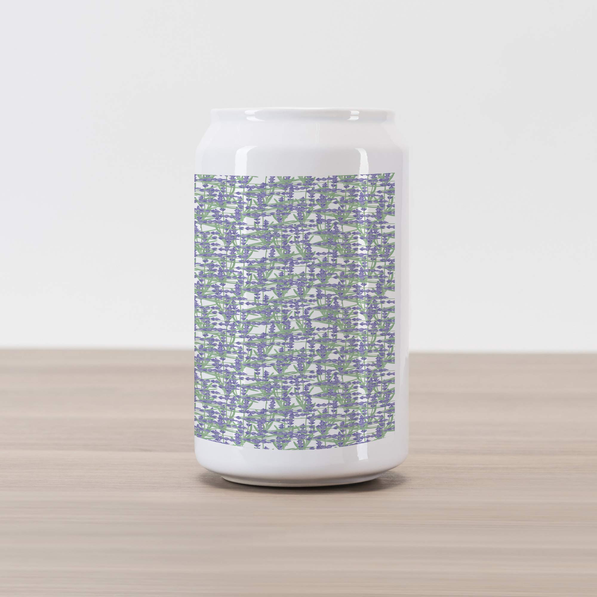 Ambesonne Lavender Cola Can Shape Piggy Bank, Grid Design with Springtime Herbs Aromatic Fragrant Nature, Ceramic Cola Shaped Coin Box Money Bank for Cash Saving, Lavender Reseda Green and Ivory