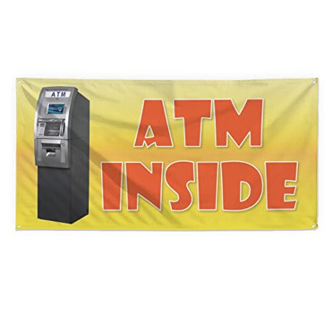 Amazon.com: Atm Inside #6 Outdoor Fence Sign Vinyl Windproof Mesh Banner With Grommets - 2ftx3ft, 4 Grommets: Office Products