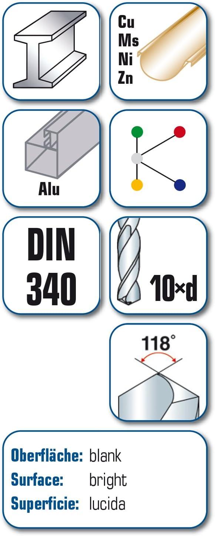 L1 alpen Super forets longs HSS DIN 340 RN 52800400100 L2 119 MM x 78 MM 4 MM de diam/ètre