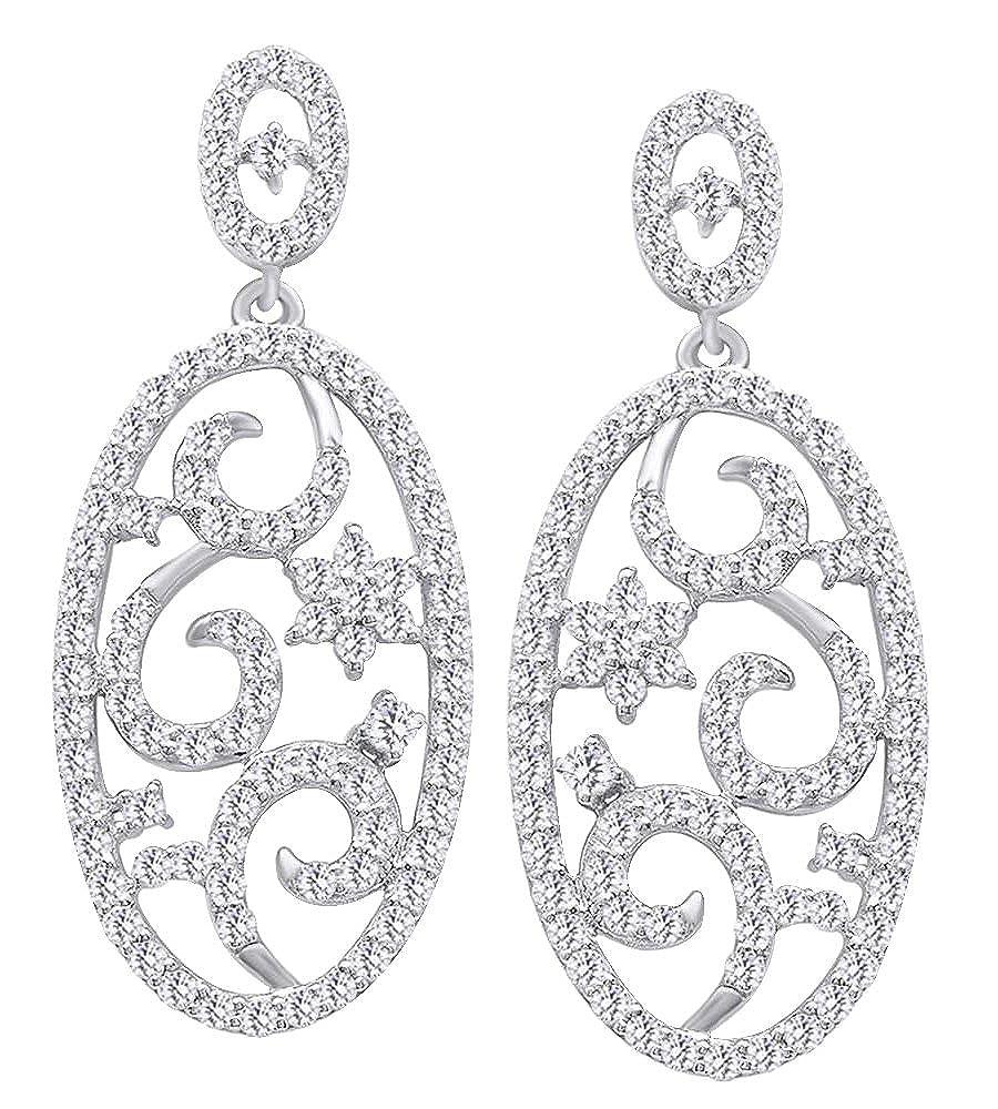 1,25 Karat Rundschliff Natürliche Weißszlig; Diamant Oval Form Ohrringe in Tropfenform 14 ct 585 Massiv Weißszlig; Gold 14 Karat (585) WeißGold
