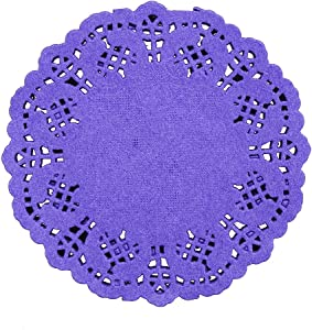 DECORA 3.5inch Round Colorful Paper Lace Doilies Wedding Tableware Decoration,Pack of 100