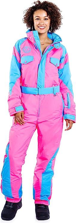 Vintage High Waisted Trousers, Sailor Pants, Jeans Tipsy Elves Womens Neon Pink Ski Suit - Performance Retro Snowsuit Onesie for Female $199.95 AT vintagedancer.com