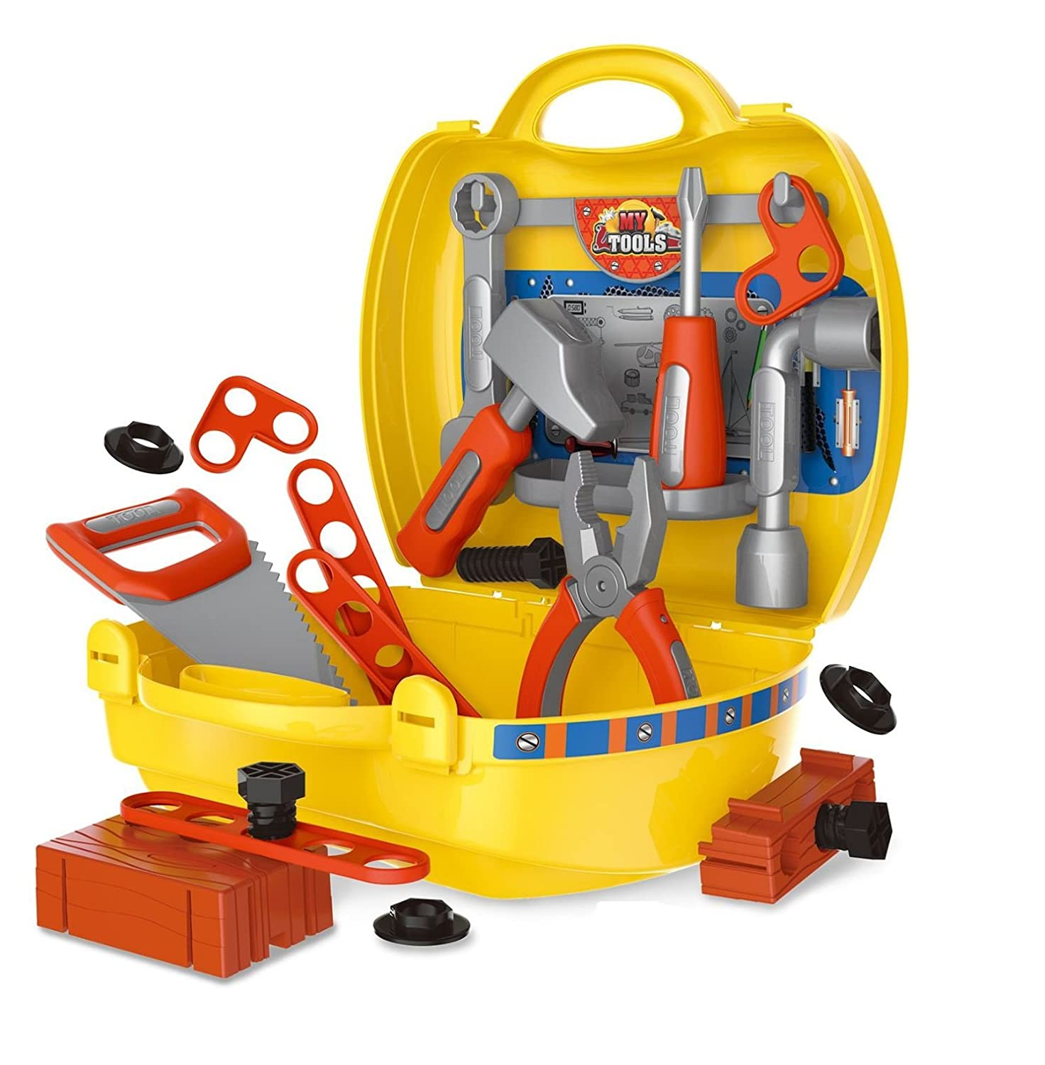 Toyshine DIY Portable Tool Set Toy With Briefcase, Accessories