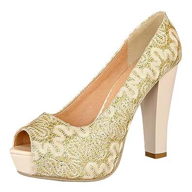 YE Damen Peep Toe High Heels Pumps mit 10cm Absatz Plateau Blockabsatz Elegant Party Schuhe