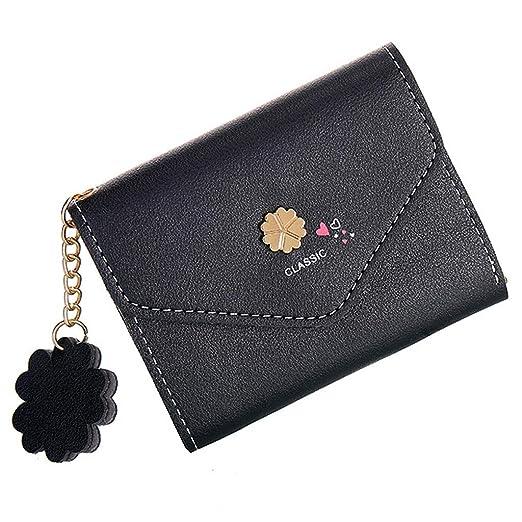 dfacefa1a3e8 HYSGM Women Purse Heart Flower Retro Sweet Zip Wallet Coin Holders Short Clutch  Handbag (Black