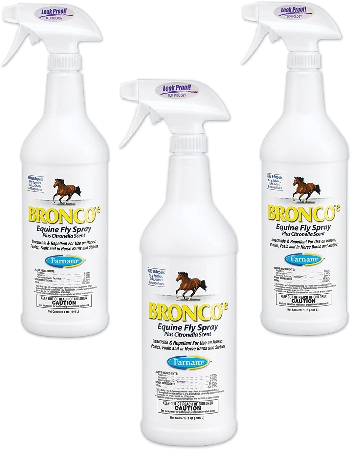 (3 Pack) Farnam Home and Garden Bronco Equine Spray with Citronella Scent, 32-Ounce 71-GbpT2P9L