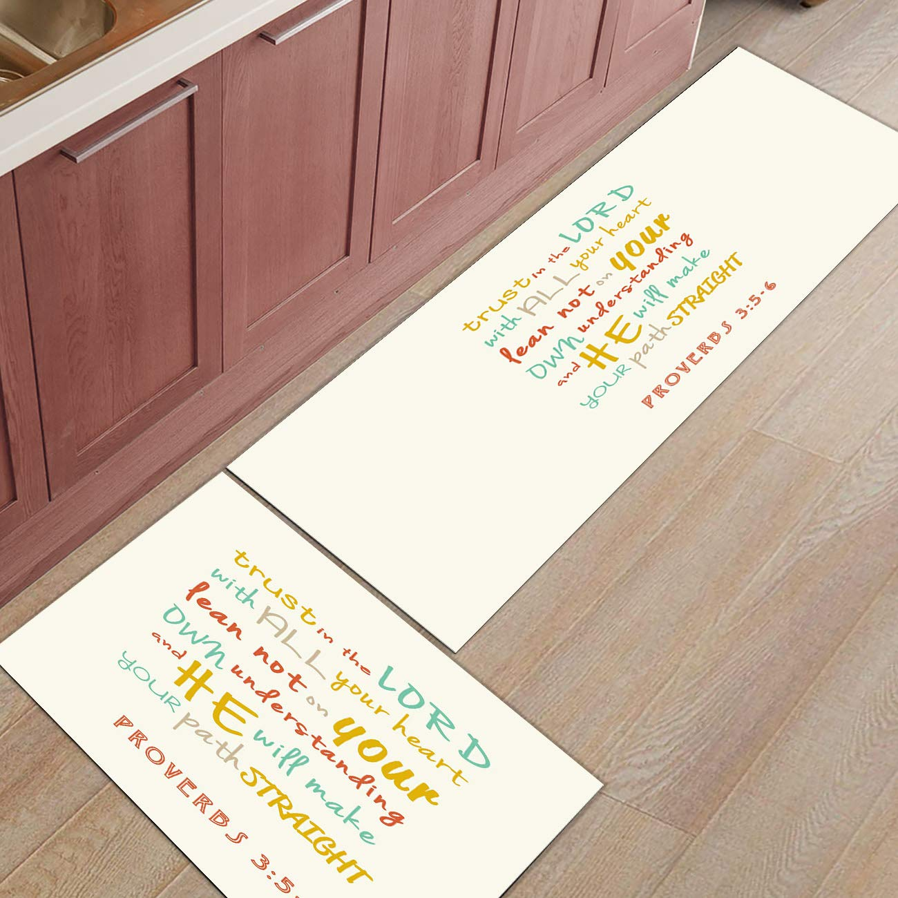"""Kitchen Rugs Sets 2 Piece Kitchen Floor Mats Non-Slip Rubber Backing Area rugs Bible Lord Proverbs Doormat Rubber Backing Washable Carpet Inside Door Mat Pad Sets(19.7""""x31.5""""+19.7""""x47.2"""")"""