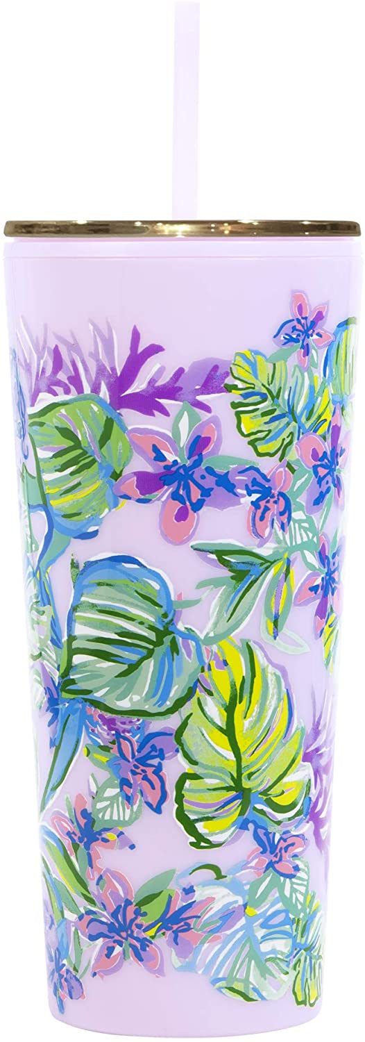 Lilly Pulitzer Tumbler with Straw Mermaid In The Shade One Size