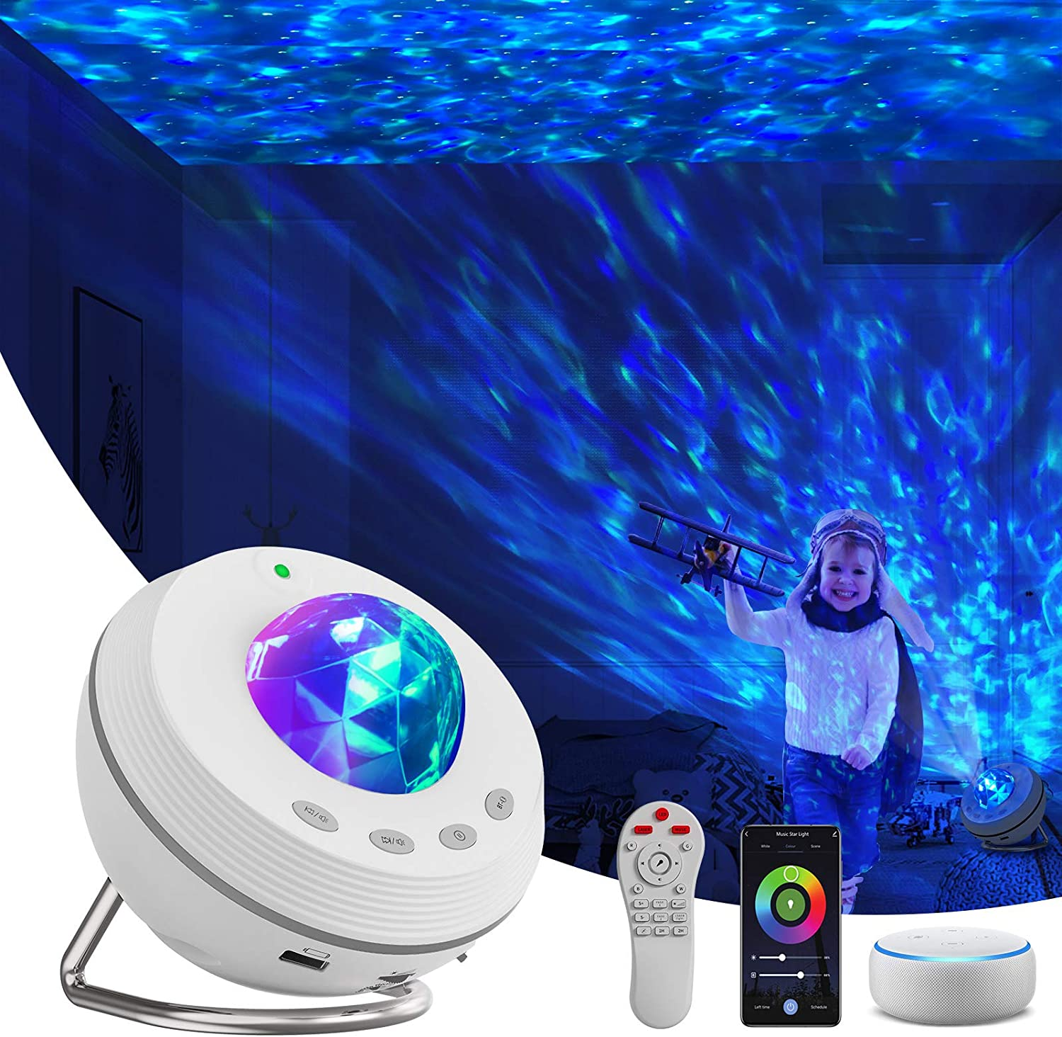 Star Projector, Night Light Projector 4 in 1 Galaxy Projector 85° Rotating,with Bluetooth Music Speaker Phone App Remote Control for Baby Kids Bedroom/Game Rooms/Home Theatre/Birthday/Party/Wedding