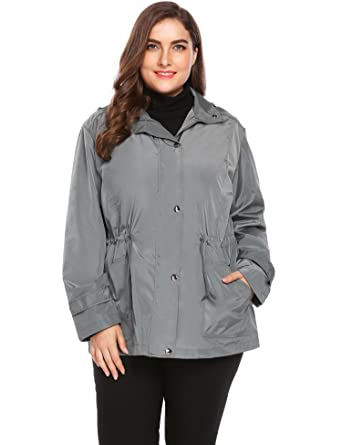 cb4bf926cae Women Plus Size Lightweight Waterproof Windbreaker Jacket Raincoat Hooded  Anorak Coat With Pocket And Drawstring