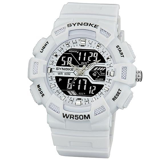 Niños Reloj Digital Reloj de Pulsera Joven Moderno Reloj Digital Cronógrafo Hombre Reloj Digital Blanco