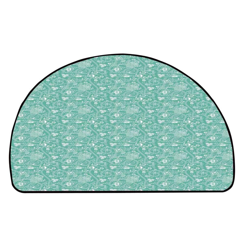 C COABALLA Turquoise Comfortable Semicircle Mat,Nature Illustration with Abstract Stripes Curlicues Geometric Floral Design Decorative for Living Room,11.8'' H x 23.6'' L