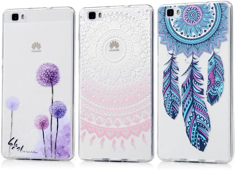 Carcasa de Silicona Fina Carcasa Trasera Transparente para Huawei P8 Lite 2017 dise/ño Floral Jeack Funda Compatible con Huawei P8 Lite 2017 Transparente