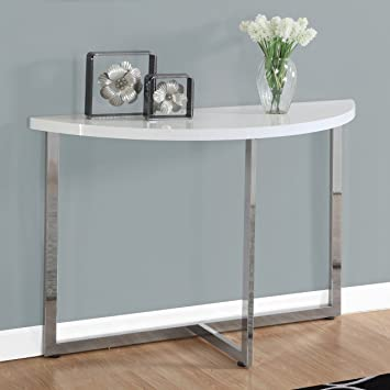 Monarch Chrome Metal Console Table, 48u0026quot;, Glossy White