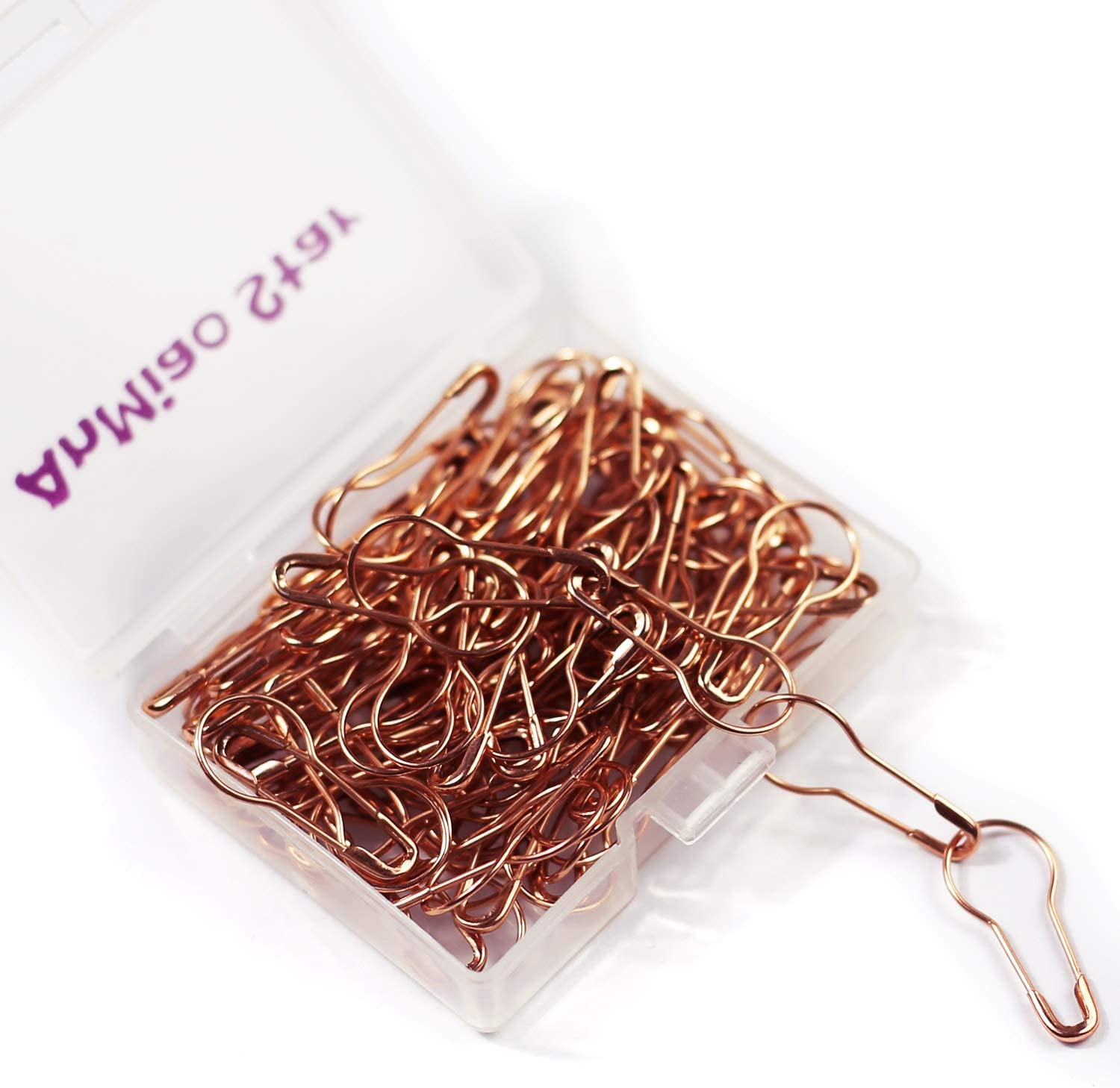 Shiguang 100 Pieces Colorful Metal Knitting Pins Assorted Pear Shape Safety Pins for Sewing Clothing DIY Craft Making Premium 0.87 Inch Bulb Stitch Markers