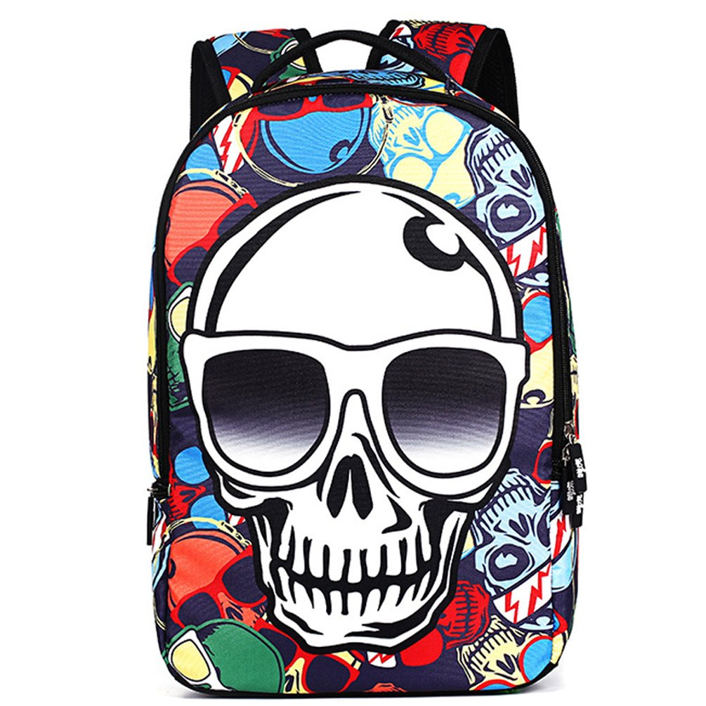 HANRUI Personalized 3D Skull Studded Casual Travel Laptop Backpack School Bookbags (Skull with glasses)