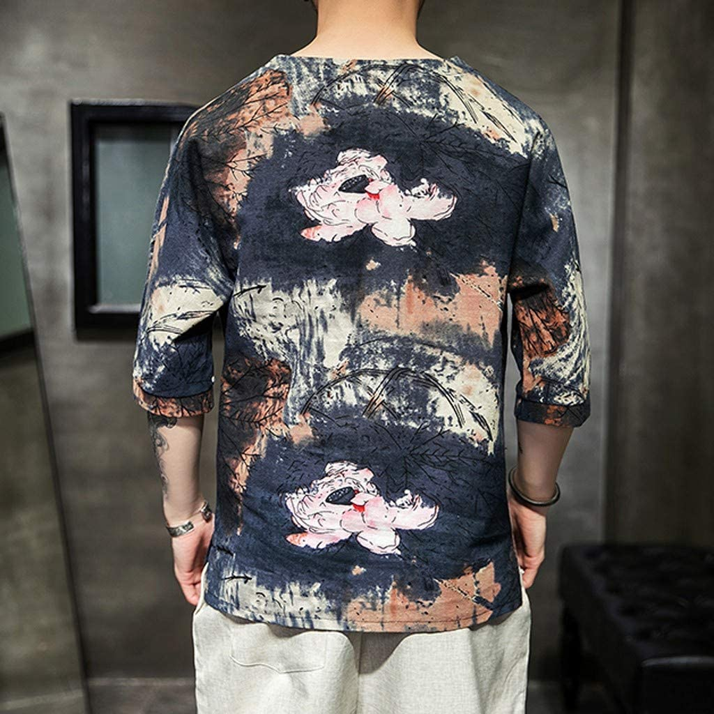 NIUQI Mens Ethnic Style Tie Dye Half Sleeve Casual Cotton Linen Printing Shirt Blouse