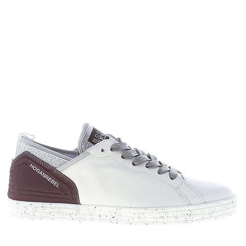 Hogan Scarpe Sneakers In Pelle Glitter Bianco Nero | Donna