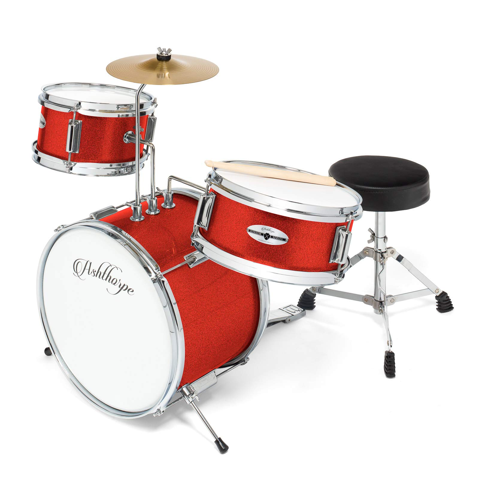 Ashthorpe 3-Piece Complete Kid's Junior Drum Set - Children's Beginner Kit with 14'' Bass, Adjustable Throne, Cymbal, Pedal & Drumsticks - Red