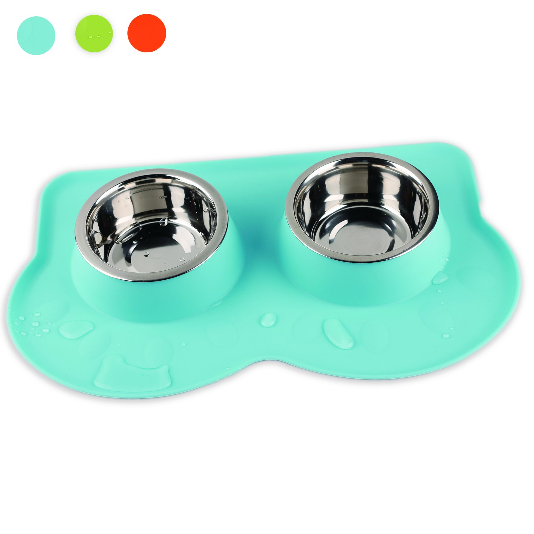 PAWISE Dog Bowls Double Stainless Steel Bowls With Non-skid Antiskid Removable Silicone Mat