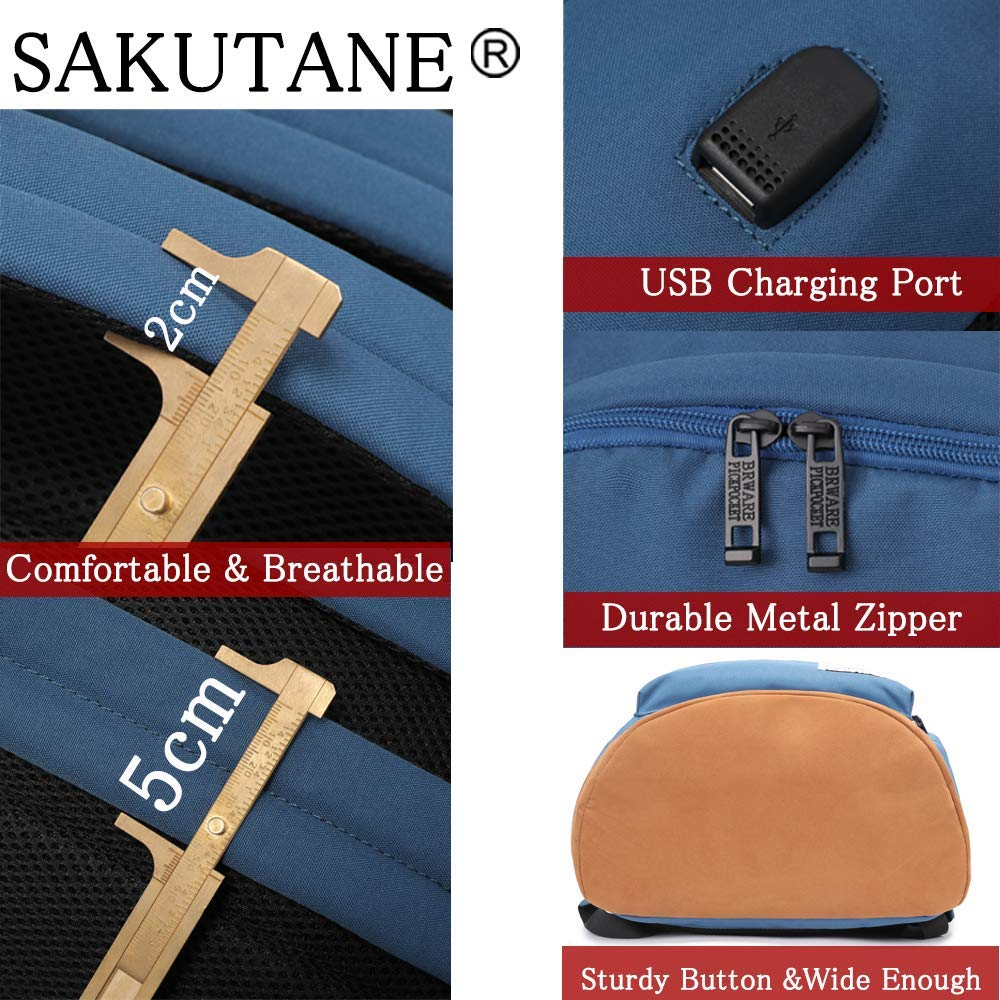 SAKUTANE Anti Theft Backpack Fit 15.6 Laptop Water Resistant Lightweight Rucksack with USB Charging Port Daypack Durable Large Capacity School Bag for Men Women College Travel Work Gym