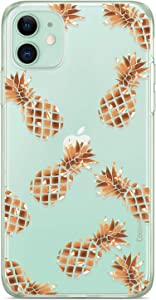Coolwee Compatible with iPhone 11 Case Rose Gold Pineapple Floral Case Women Girl Men Foil Clear Design Shiny Glitter Hard Back Case with Soft TPU Bumper Cover for Apple iPhone 11 6.1 inch Pineapple