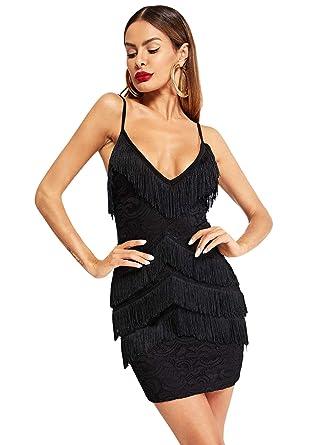 SheIn Women s Deep V Neck Fringe Lace Spaghetti Strap Bodycon Cami Dress  Black X-Small 62d111ee1e