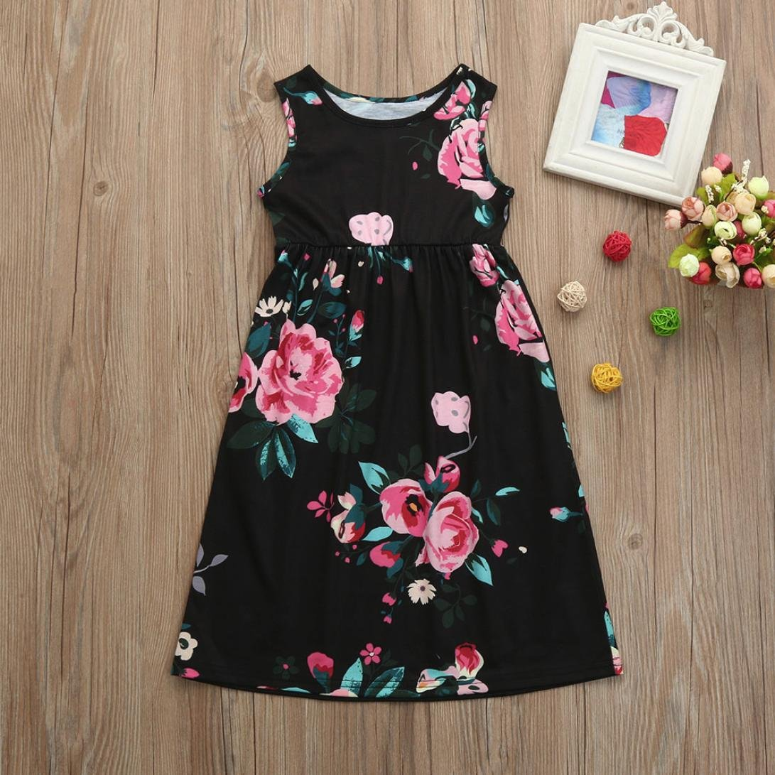 Wanshop Floral Princess Dress Toddler Infant Baby Girls Short Sleeve Tutu Flower Pink 0 2th Product Description