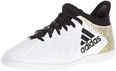 adidas Performance Kids' X 16.3 Indoor Soccer Cleats, White/Black/Metallic  Gold