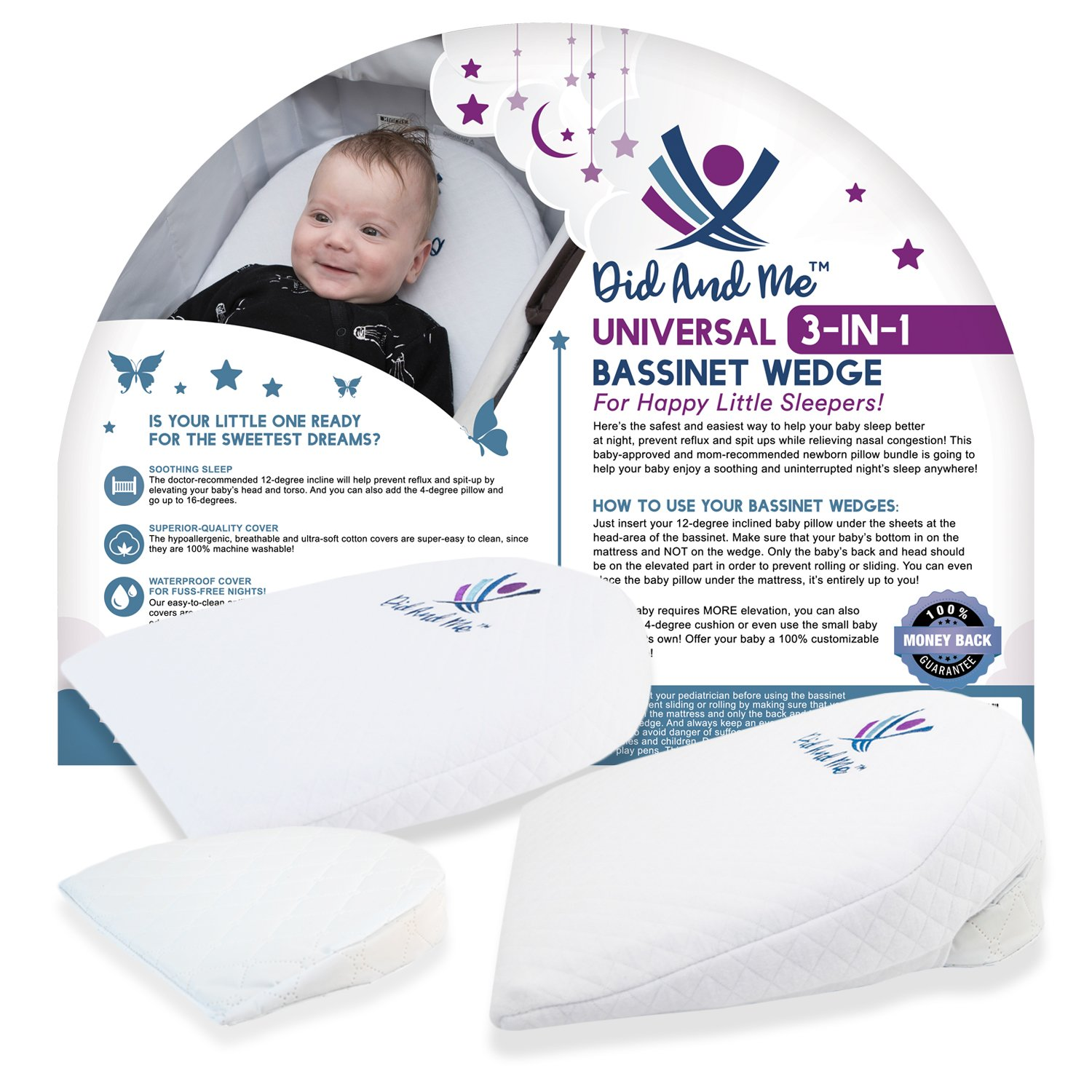 3 in 1 Universal Bassinet Wedge | Elevated Sleeping Pillow Helps Newborn Babies With Acid Reflux, Congestion, Colic | Adjustable Cushion Supports Healthy Sleep and Eating With Carrying Case