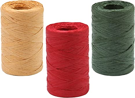 3 Christmas Raffia Ribbon Roll Craft Raffia Rope Raffia Wrapping Roll for Craft DIY Wrapping Hanging Tags Party Supplies 3 Colors
