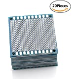 "URBEST Universal Circuit PCB Board Single-Side Small Prototype Tinned Board 5 x 5 cm/1.97"" x 1.97"" Blue Circuit Breadboard, 20Pack"