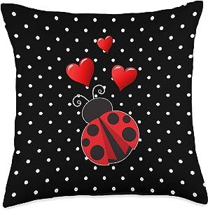 Ladybug Polka Dot Home Decor Ladybug Lover Gift Ladybug With Hearts Black And White Polka Dots Throw Pillow, 18x18, Multicolor