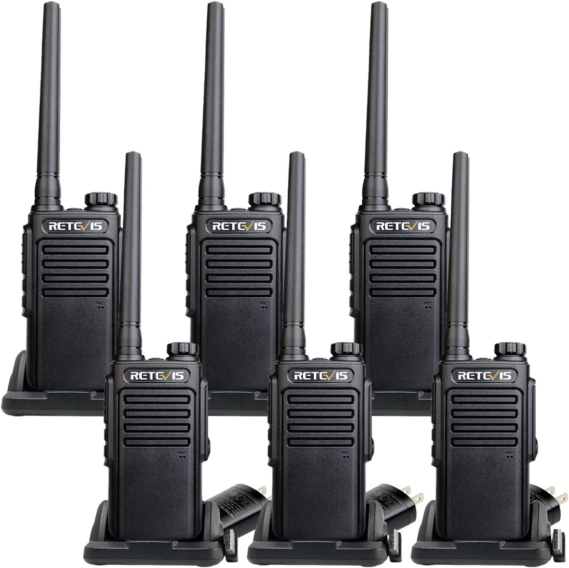 Retevis RT47 2 Way Radios Waterproof Radio VOX Handsfree Scan Channel Lock Walkie-Talkies for Adults Business 6 Pack