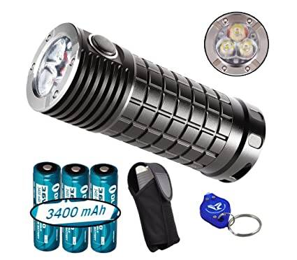 Olight SR Mini Intimidator 2800 Lumens Cree XM-L2 LED Flashlight with 3x Olight 3400mAh