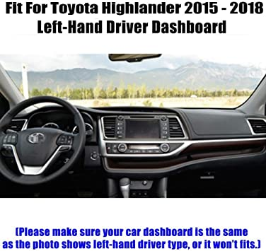 Black J26 Yiz Dash Cover Mat Custom Fit for Toyota Highlander 2014-2019,Dashboard Cover Pad Carpet