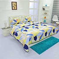 Aurome - Microfiber 4 Pc All Season Comforter Set (120 GSM) , 1 Double Bed Comforter + 1 Double Bedsheet + 2 Pillow Covers (Artistic Blossoms)