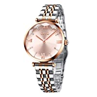 Womens Quartz Watches Rose Gold Lady Waterproof Crystal Stainless Steel Dress Watch Fashion Simple Design Analog Elegant Metal Wrist Watches for Women