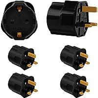Incutex 4x adapter EU naar VK – Europa 2-pin naar 3-pin VK -13A zekering – Europese reisstekker Schuko in zwart