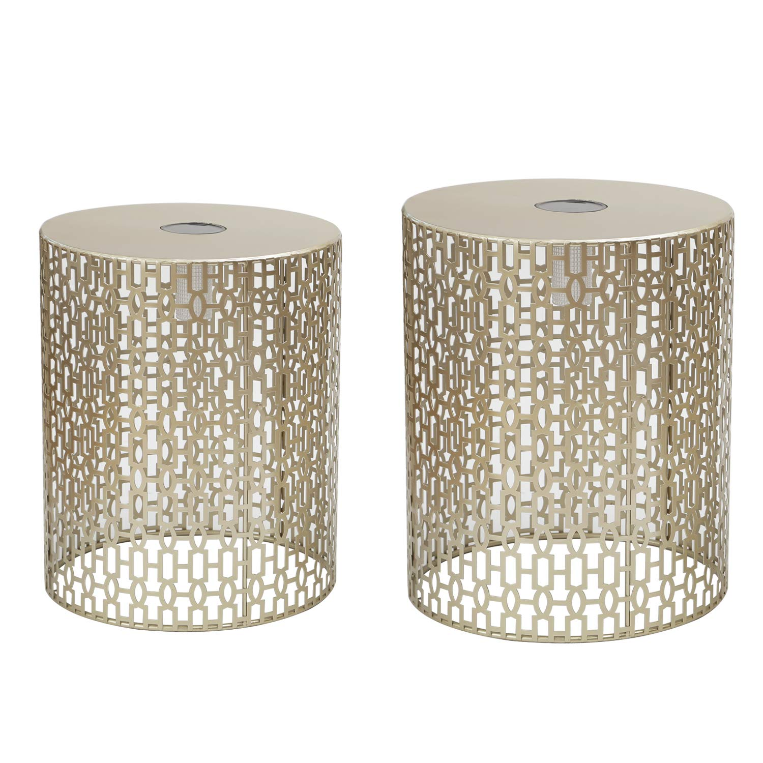 Adeco Decorative Nesting Round Side End Accent Coffee Table, Side Table. Nightstand, Set of 2 (Gold-LED) FT0239