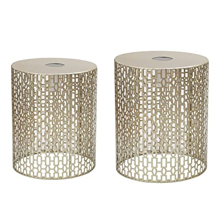 4fa194d83be3d2 Amazon.com: Adeco Decorative Nesting Round Side End Accent Coffee Table, Side  Table. Nightstand, Set of 2 (Gold-LED): Kitchen & Dining