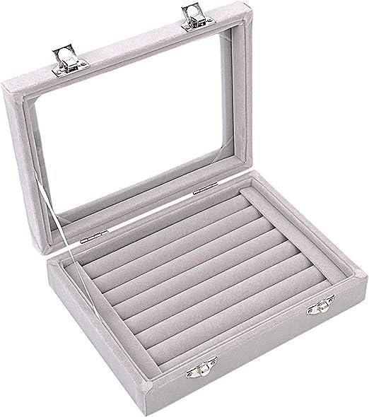 Caja organizadora Ivosmart con 24 secciones de terciopelo y tapa de vidrio para guardar joyas, con exhibidor de anillos o bandeja para aretes., cartón, Gris, 7 Slot (Grey): Amazon.es: Juguetes y juegos