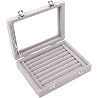 Caja organizadora Ivosmart con 24 secciones de terciopelo y tapa de vidrio para guardar joyas, con exhibidor de anillos o bandeja para aretes., cartón, Gris, 7 Slot (Grey)