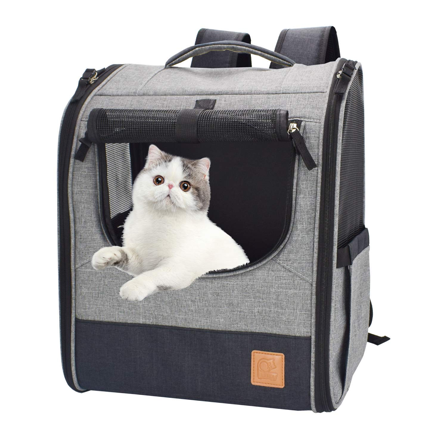 Purrpy Pet Carrier Backpack Small Dog Cat Puppies Carrier Airline Approved Ventilated Comfortable Pet Travel Backpack, Grey