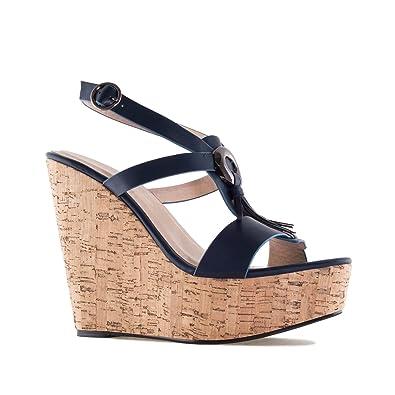 74455541b3 Andres Machado Chaussures compensées en Soft Bleu Marine avec Franges.42