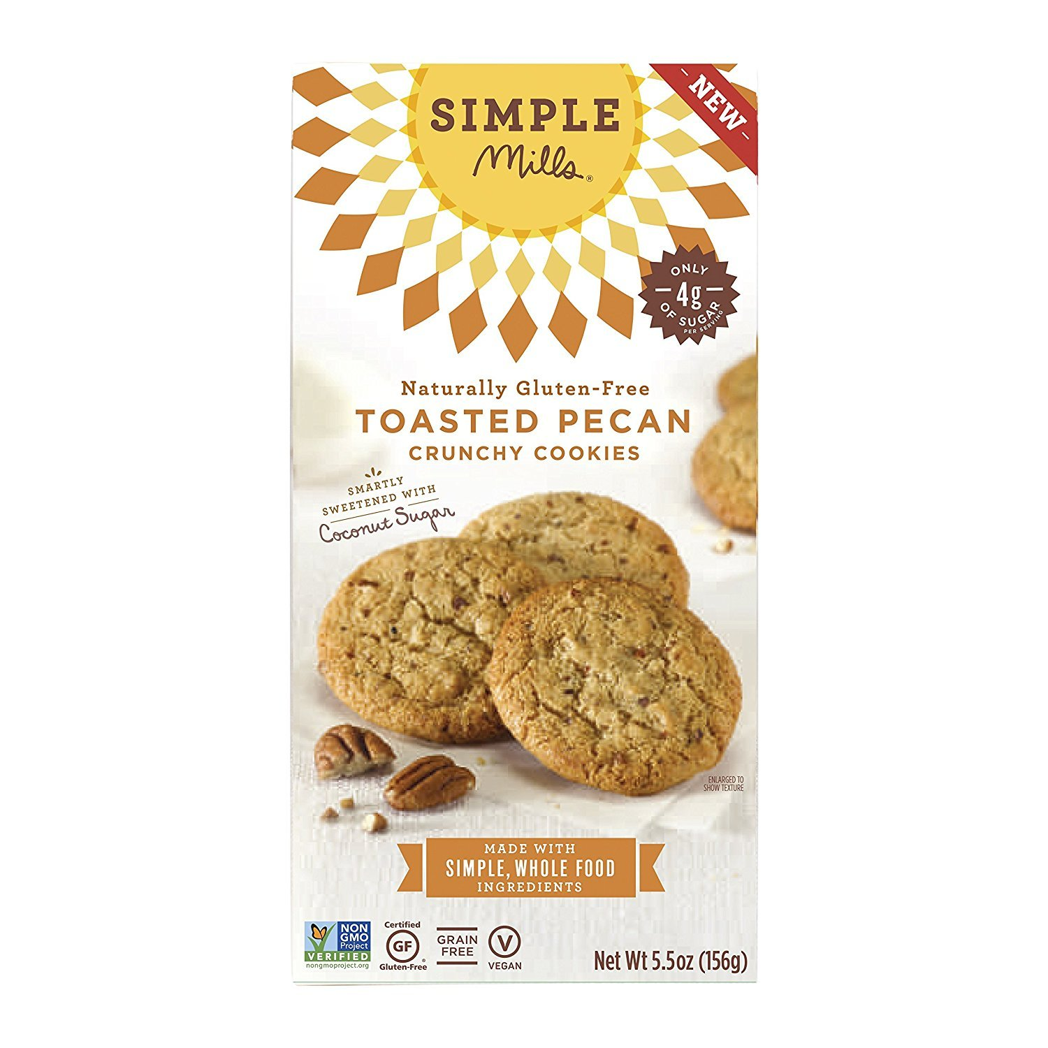 Simple Mills Naturally Gluten-Free Crunchy Cookies, Toasted Pecan, 5.5 oz (PACKAGING MAY VARY)